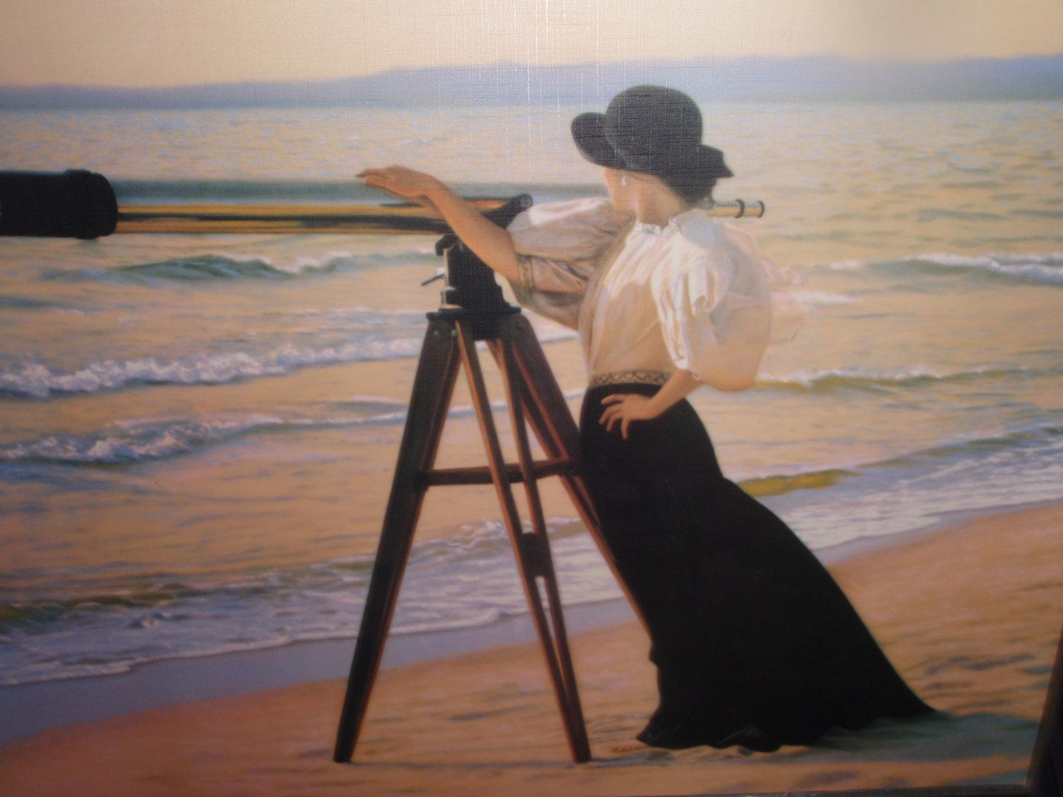 vintage print woman with telescope at the beach artsea art
