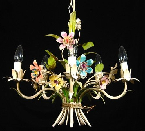 Vintage french tole toleware chandelier bouquet of flowers vintage french tole chandelier ooh la la like the one i have mozeypictures Image collections