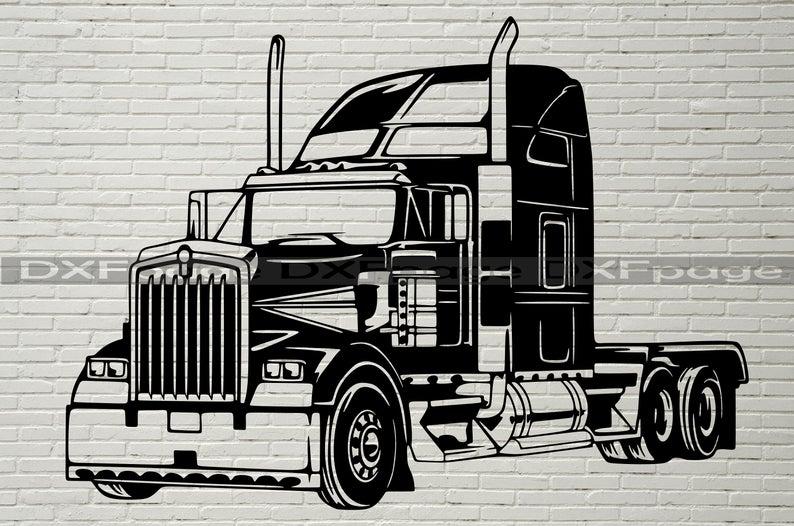 Semi Truck Svg Trailer Cab Silhouette Dxf Svg For Cricut Etsy Svg Bulldog Clipart Dxf