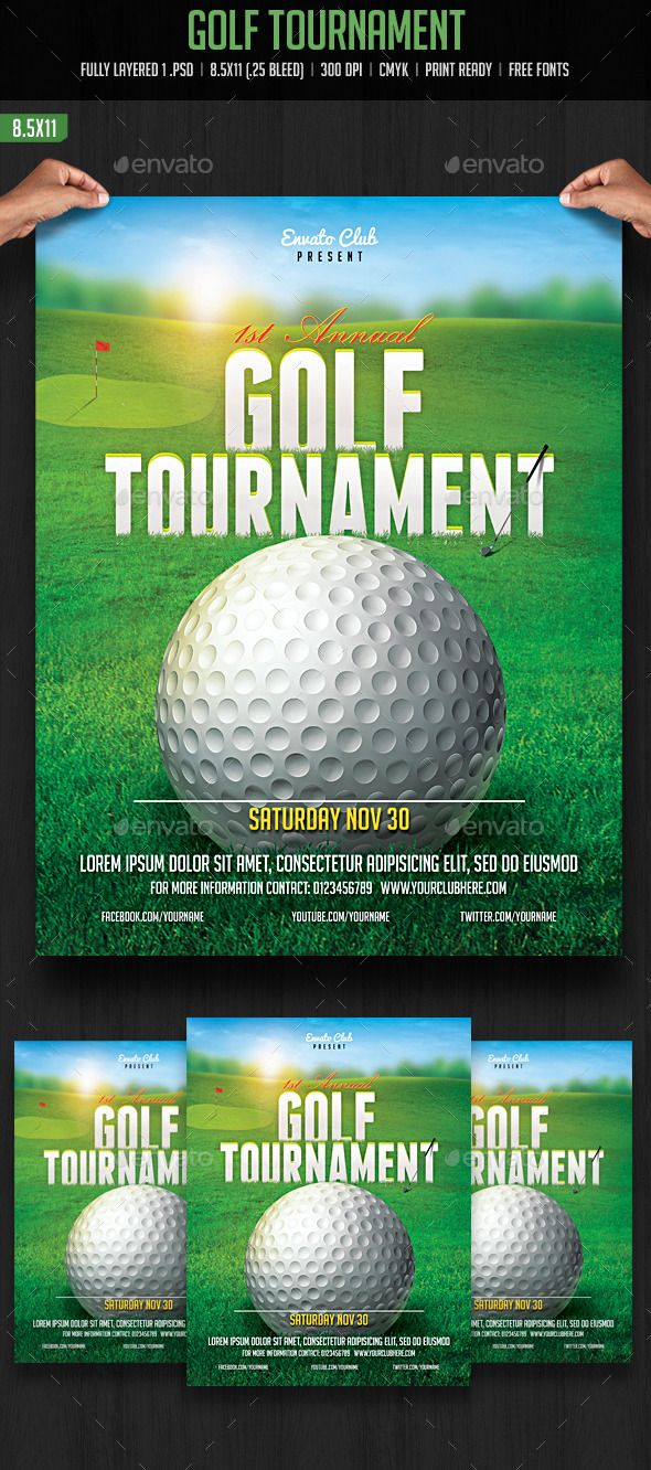 Golf Tournament Flyer  Golf Fonts And Flyer Template