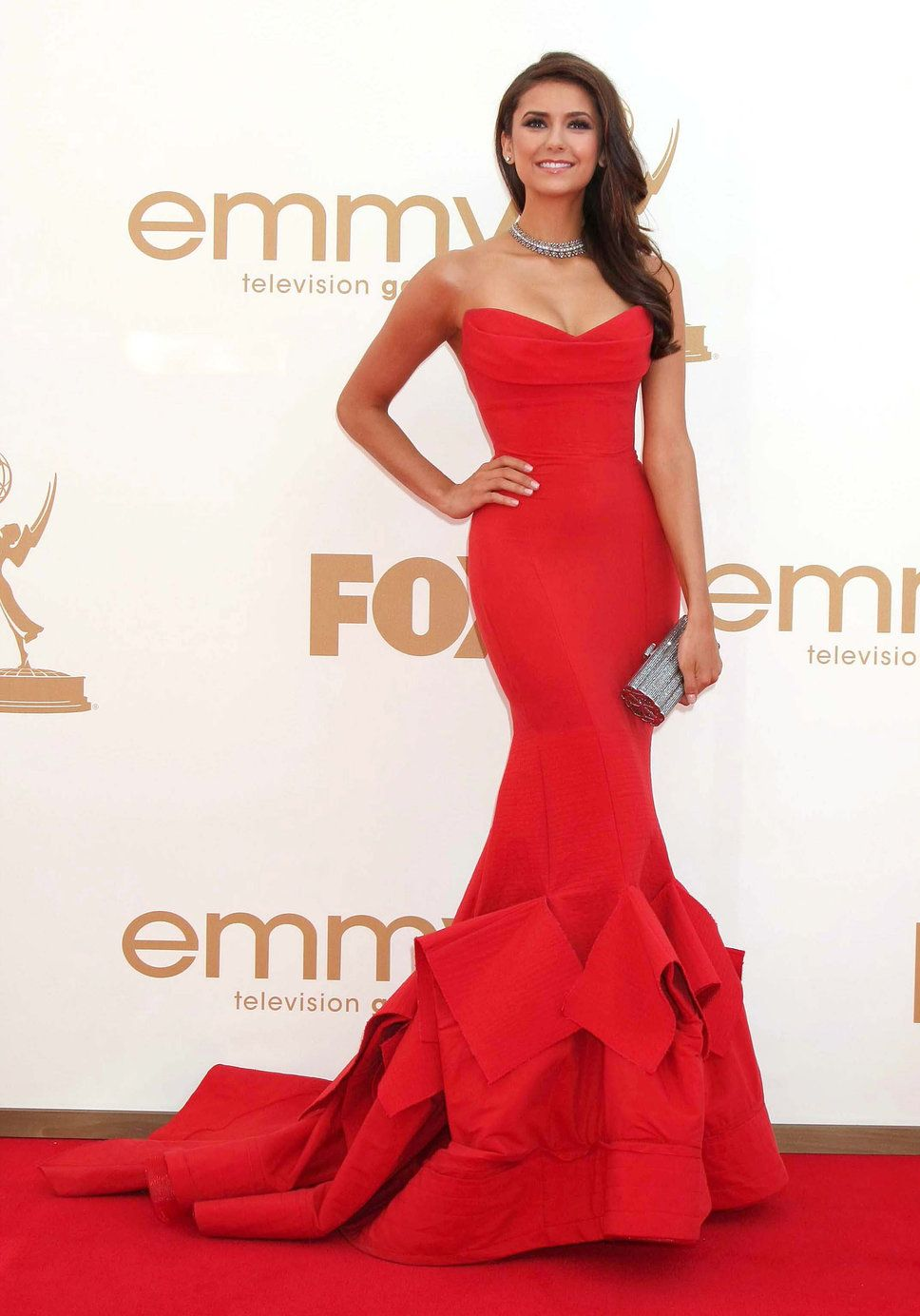 Nina Dobrev, long tight red dress silver clutch necklace | Fashion ...