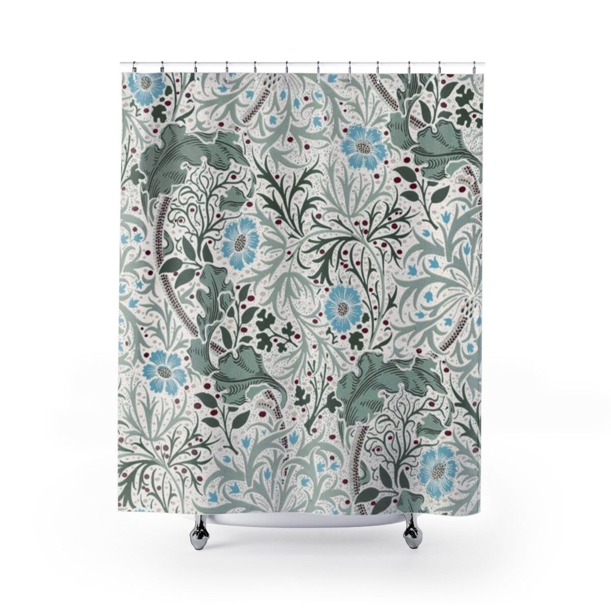 William Morris Shower Curtain Blue Green Seaweed Print English