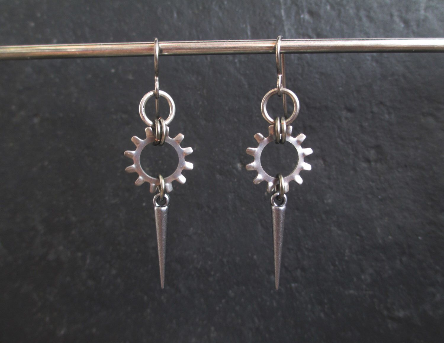 Spike Earrings, Industrial Earrings, Stainless Steel Earrings, Hypoallergenic Earrings, Washer Earrings, Hardware Jewelry, Black Cat Links by BlackCatLinks on Etsy https://www.etsy.com/listing/175579388/spike-earrings-industrial-earrings