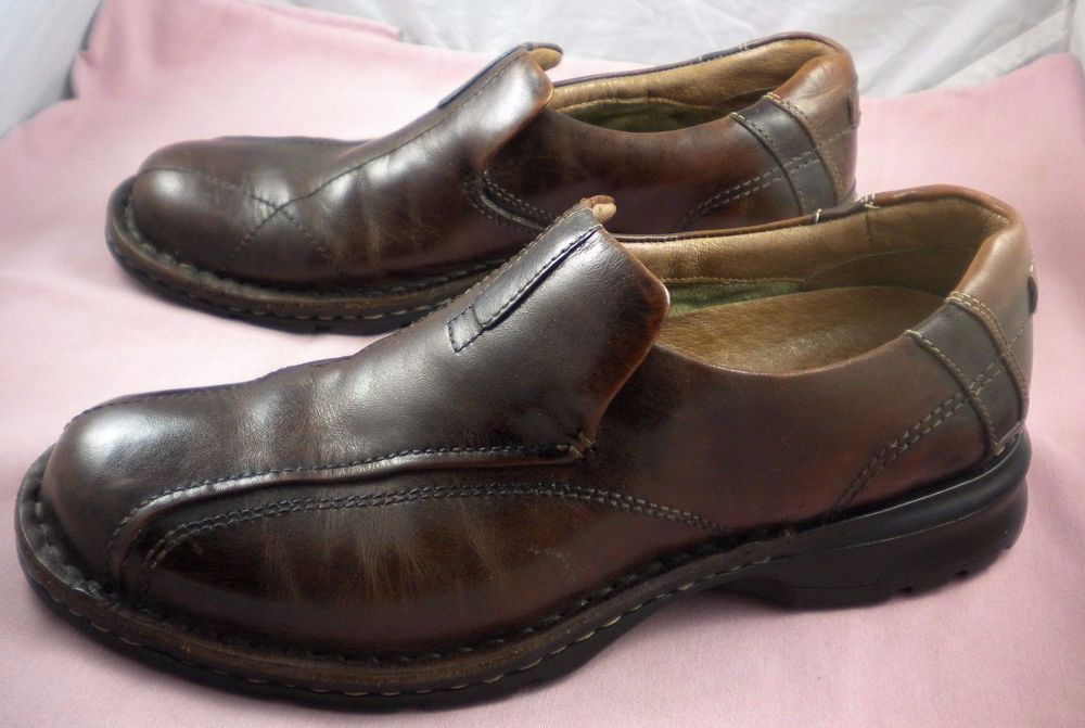 Men's Clarks Escalade 70846 Dress Slip On Loafers Brown Leather Comfort Shoe  9 M #Clarks