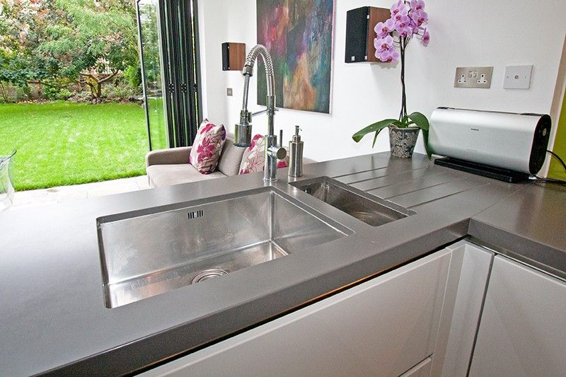 White Kitchen Extensions modern white kitchen extension - mid- grey kitchen worktop