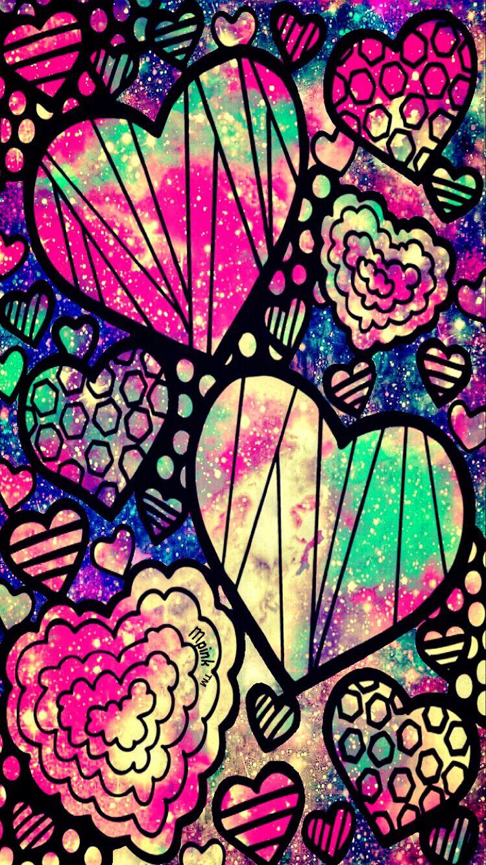 funky heart galaxy wallpaper #androidwallpaper #iphonewallpaper