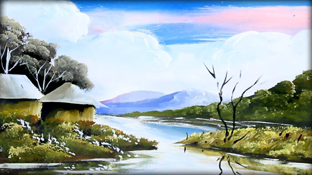 How To Paint With Acrylic Beautiful Riverside Scenery Poster Color Painting Painting Landscape Paintings Acrylic