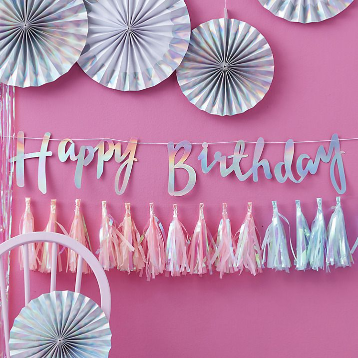 Ginger Ray Iridescent Birthday Banner Backdrop Iridescent