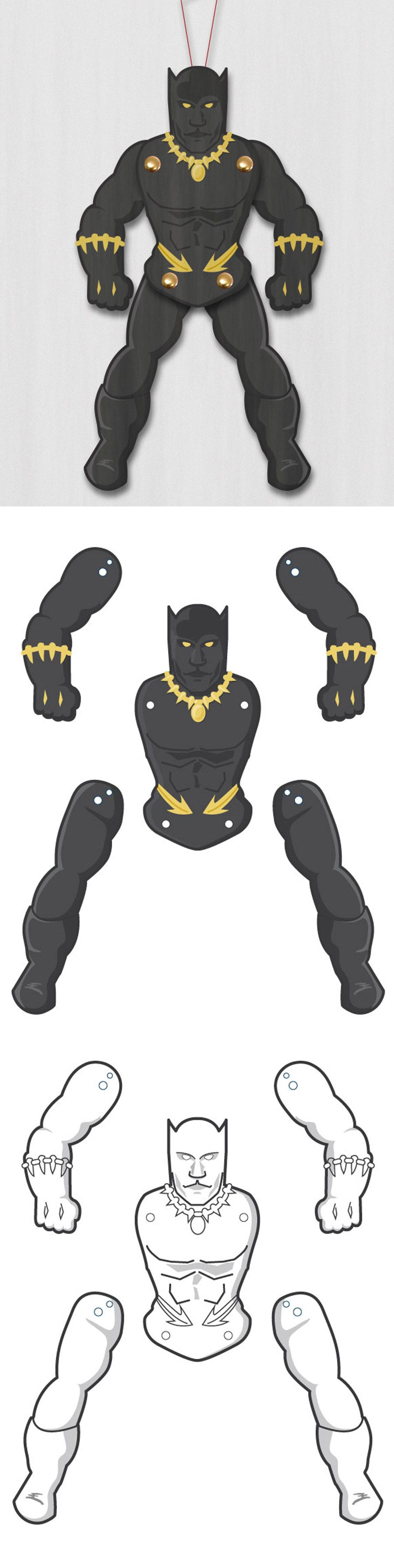 Create your own awesome superhero black panther paper puppet easy paper craft and loads of fun