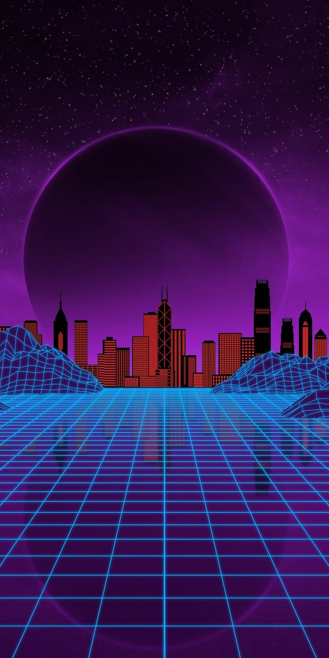 Synthwave, moon, city, cityscape, mountains, landscape