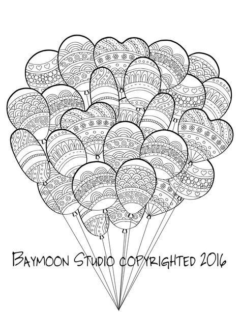 Globos para colorear página páginas imprimibles por BAYMOONSTUDIO ...