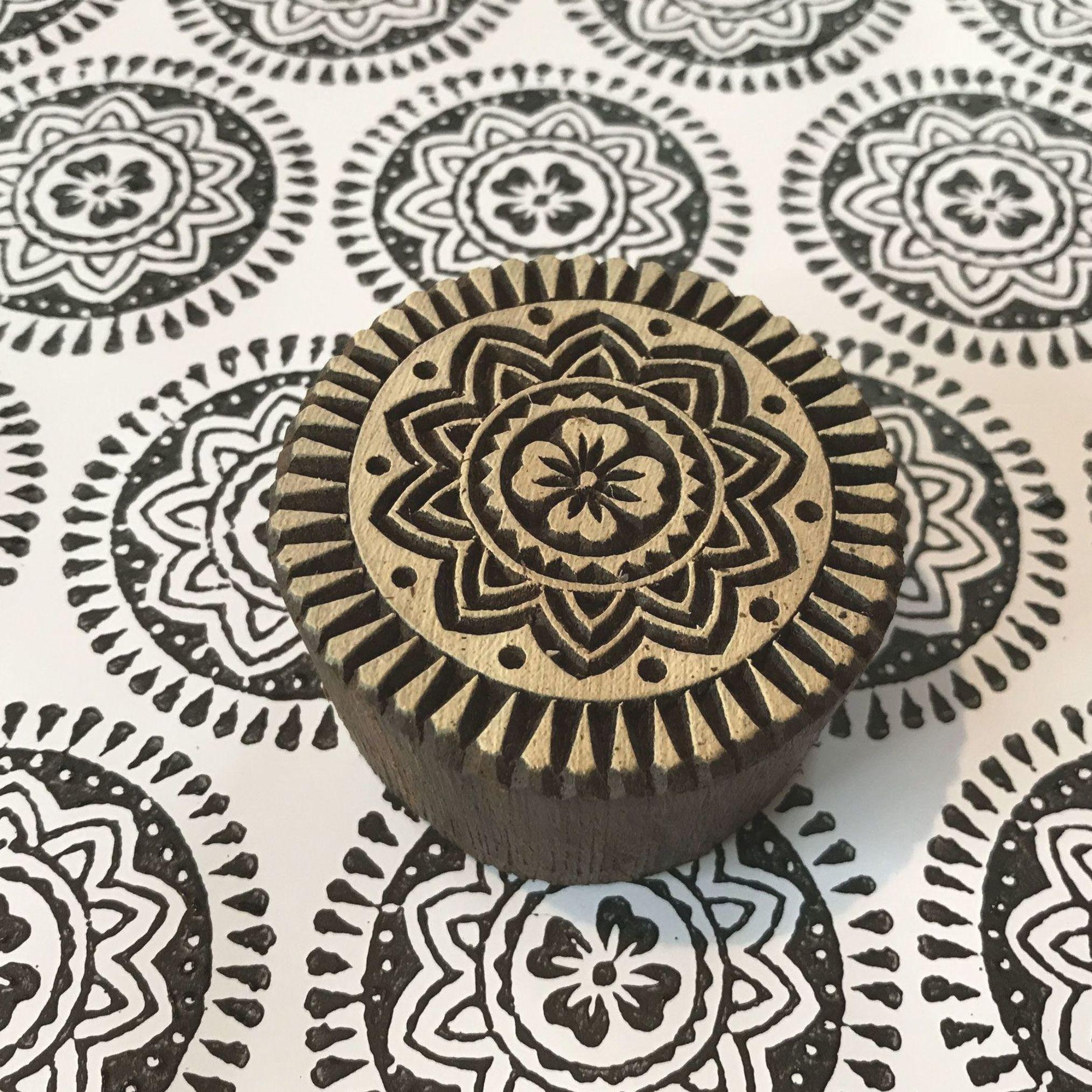 Block Print Stamp Mandala Motif M 133 Block Printing Fabric Hand Carved Stamps Stamp Carving