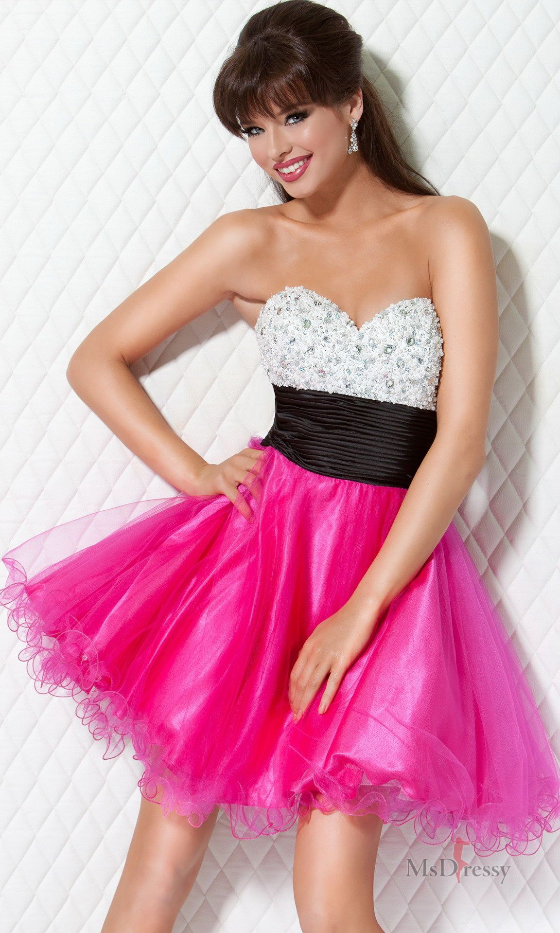 Ball gown sweetheart short satin sweet dress with crystal and