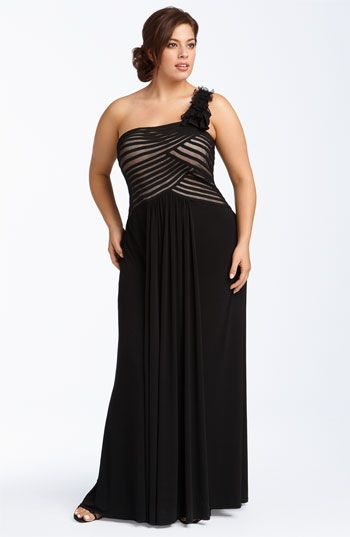 3ad897289da JS Collections One Shoulder Mesh   Jersey Gown