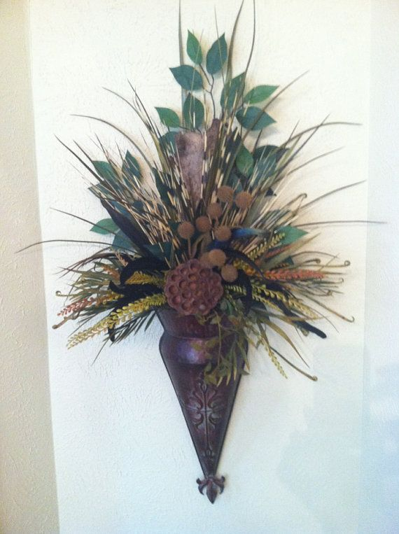 Wall Sconce - Feather Wall Pocket - Dried Pod & Feather ... on Decorative Wall Sconces For Flowers Arrangements id=44004