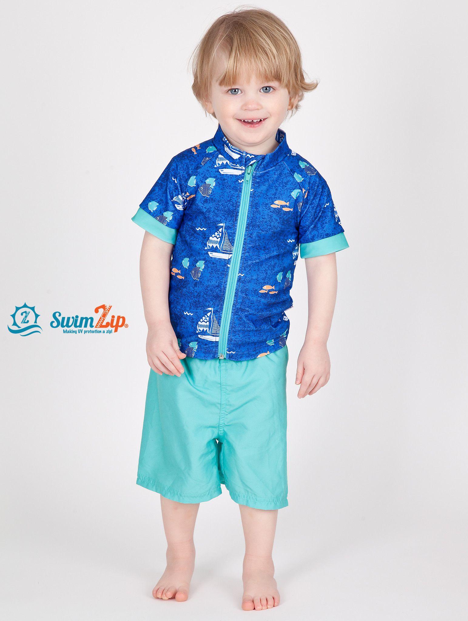8e50ba649c Little Boy Short Sleeve Rash Guard Swimsuit Set (2 Piece) with SPF 50+ -  Captain Kid