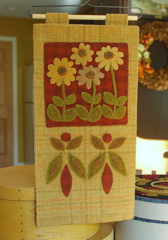 Autumn wool applique wall hanging hand dyed rug hooking wool ...