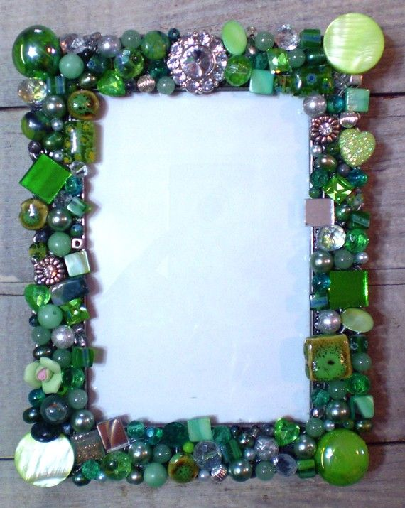 Mosaic Jeweled Picture Frame In Green By 2ndtimearoundmosaics