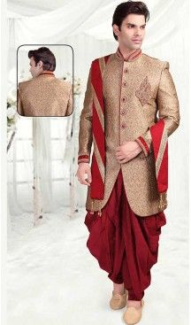 49783b642b2 Beige Color Brocade Indo Western Style Outfits for Mens ...