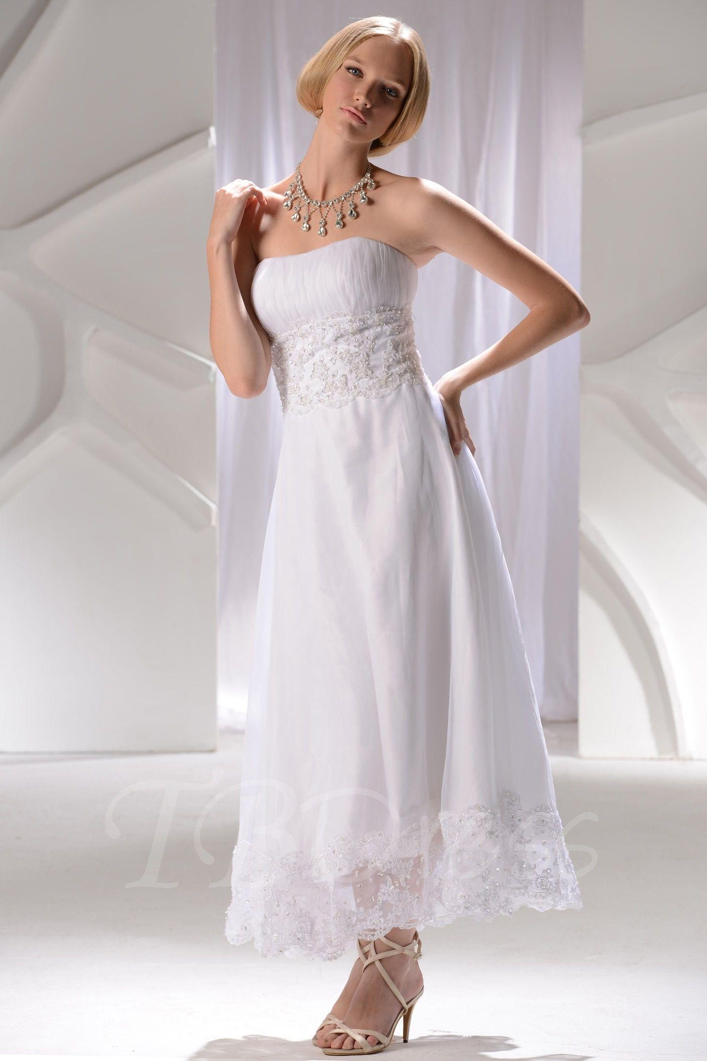 A Line Princess Strapless Anklelength Wedding Dress
