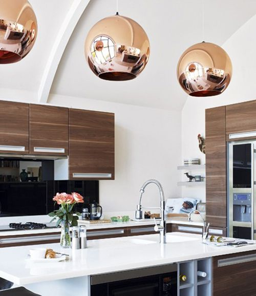 Tom Dixon Copper Shade Pendant Lkitchen Walnut Cabinets White Countertop Via House And Home Modern Kitchen Modern Kitchen Design Contemporary Kitchen