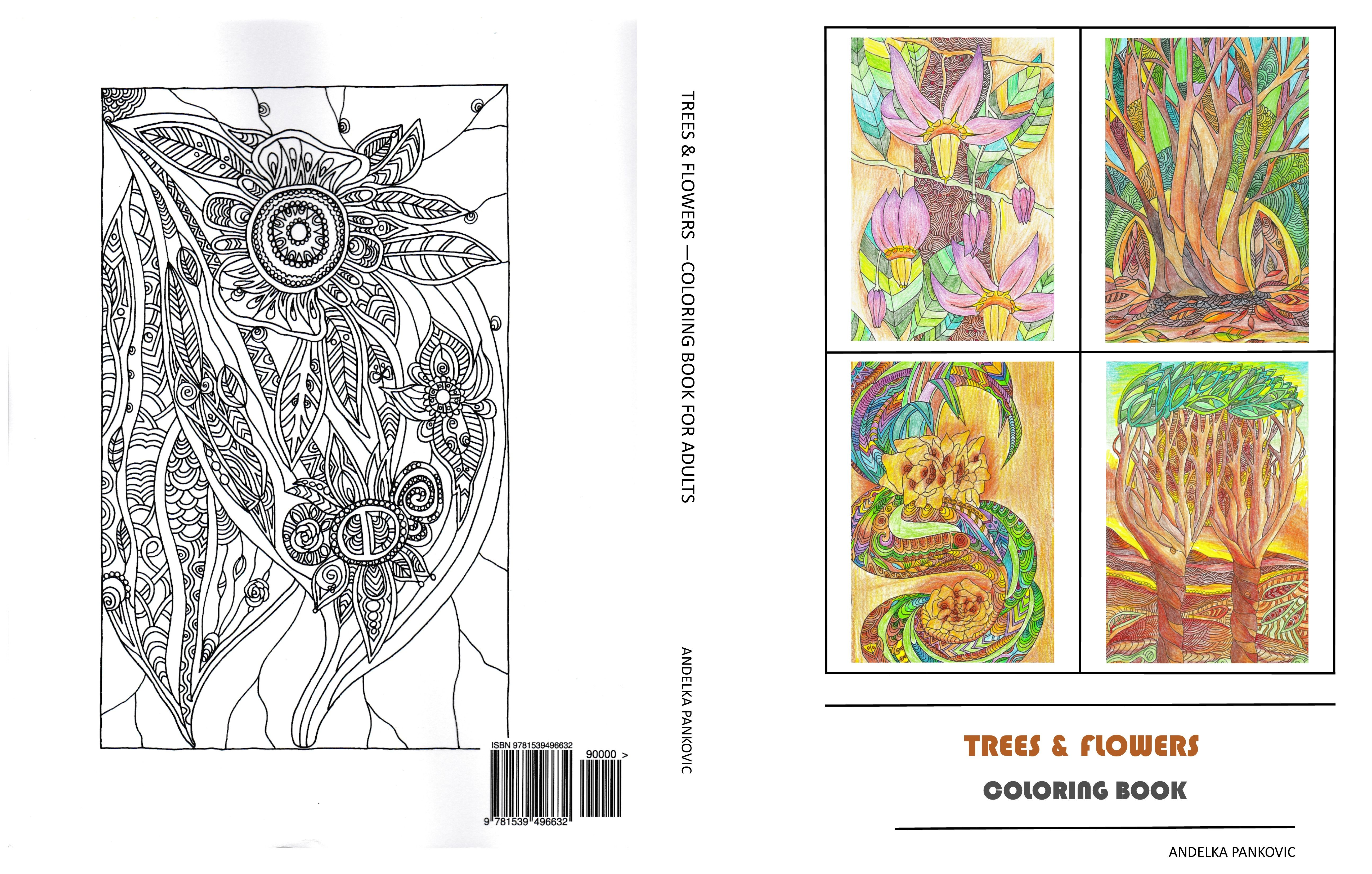 Coloring pictures of flowers and trees - Copertina Intera Del Libro Trees Flowers