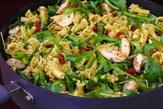 Pesto Pasta With Chicken Asparagus Arugula