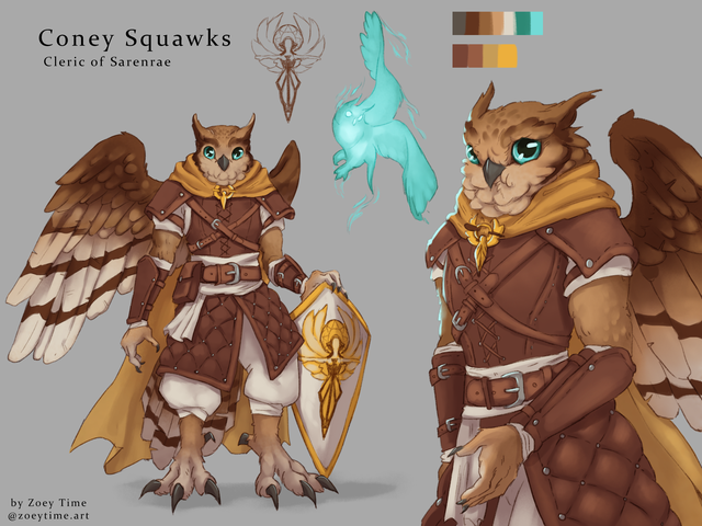 [OC] (Commission) Coney Squawks, the (derpy) Aarakocra Cleric - characterdrawing