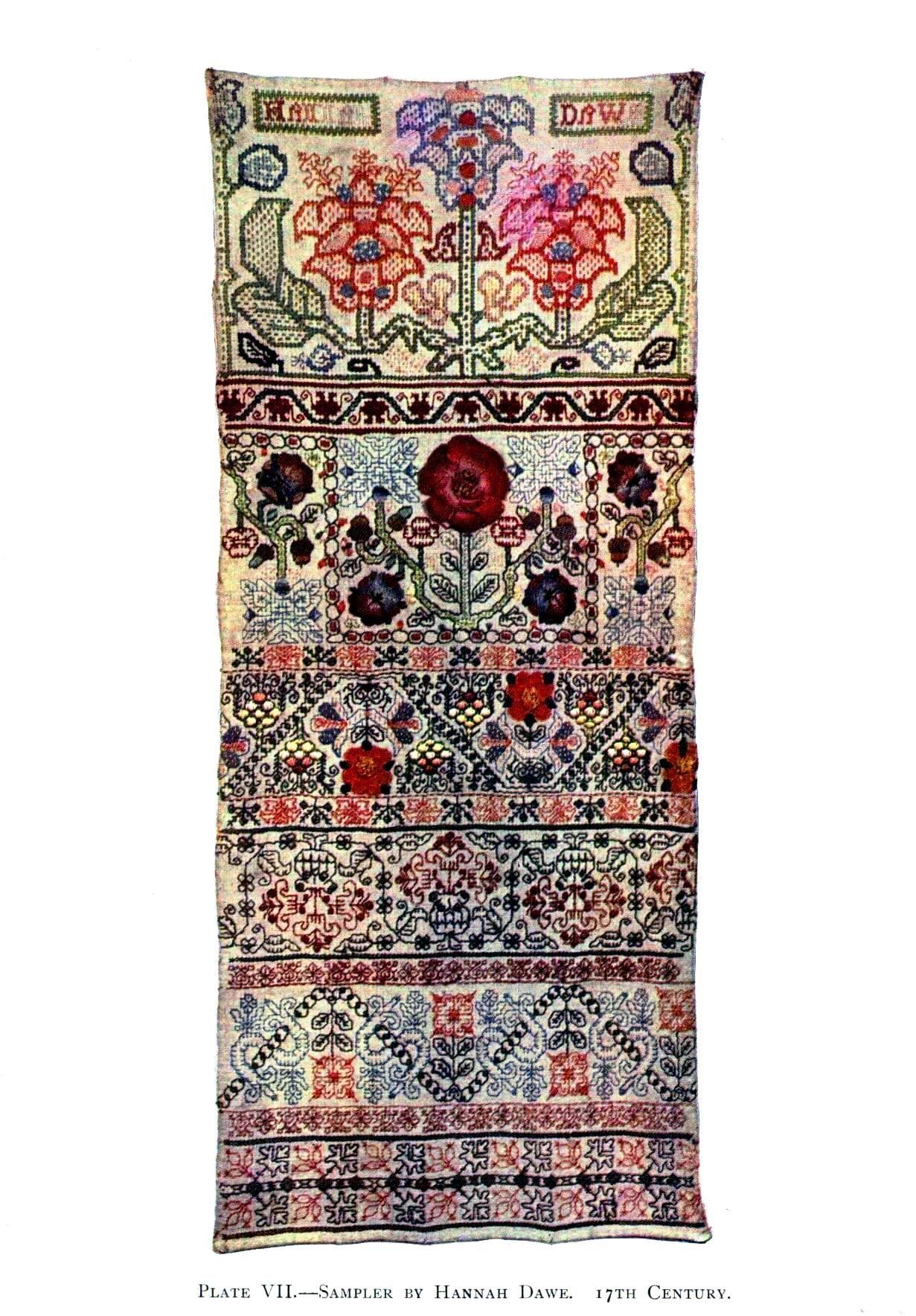 Free Printable Art Design Textile Embroidery Sampler th C