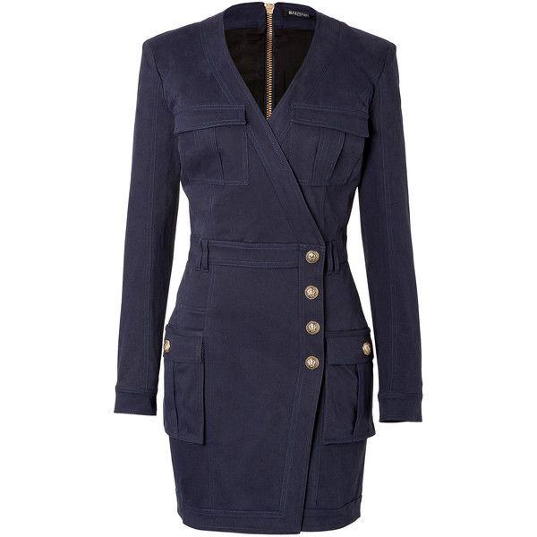 Balmain Stretch Cotton Wrap Dress (814.350 CLP) ❤ liked on Polyvore featuring dresses, balmain, blue, longsleeve dress, v neck wrap dress, blue wrap dress, blue v neck dress and blue dress