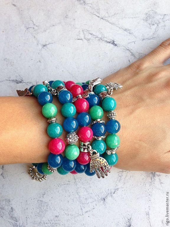 Купить Браслеты из Агата - браслет с агатом, браслет с подвесками, браслет из камней, браслеты на резинке, украшения