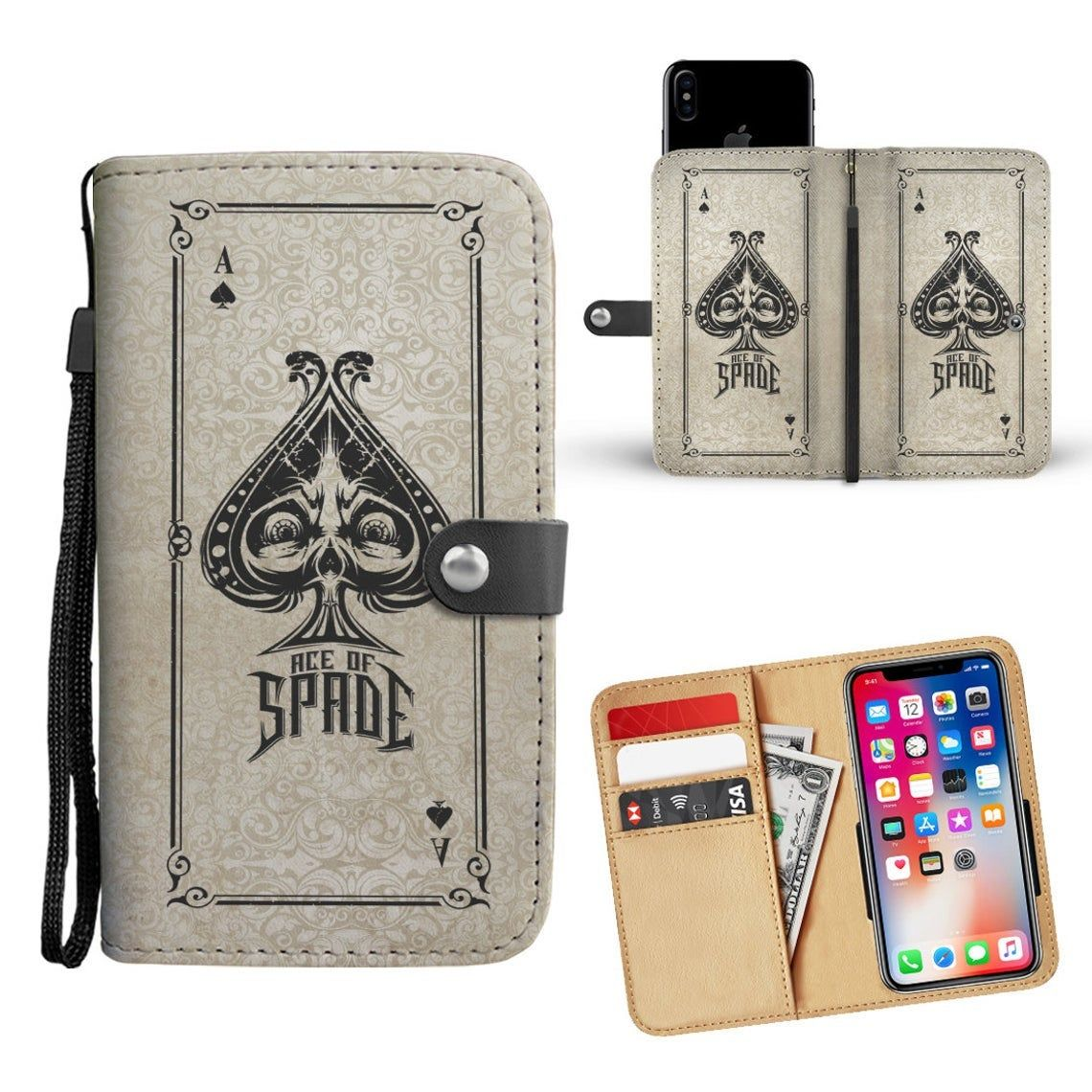 Dog Wallet Phone Case Custom Personalized Protective Cell Phone Book Cover for iPhone Samsung LG Google Huawei OnePlus