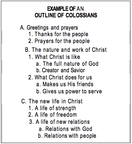 Example Of An Outline Of Colossians Colossians Pinterest Bible