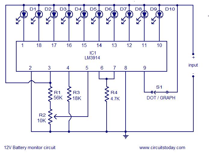 Circuito Indicador De Nivel De Led Da Bateria 12v Esquemas Eletronicos Circuito Eletronico Componentes Eletronicos