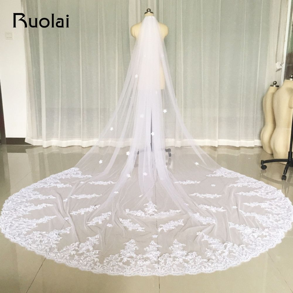 b5da7d285b New One Layer 3M Ivory White Wedding Veils Lace Edge Flower Bridal Veil  Soft Tulle