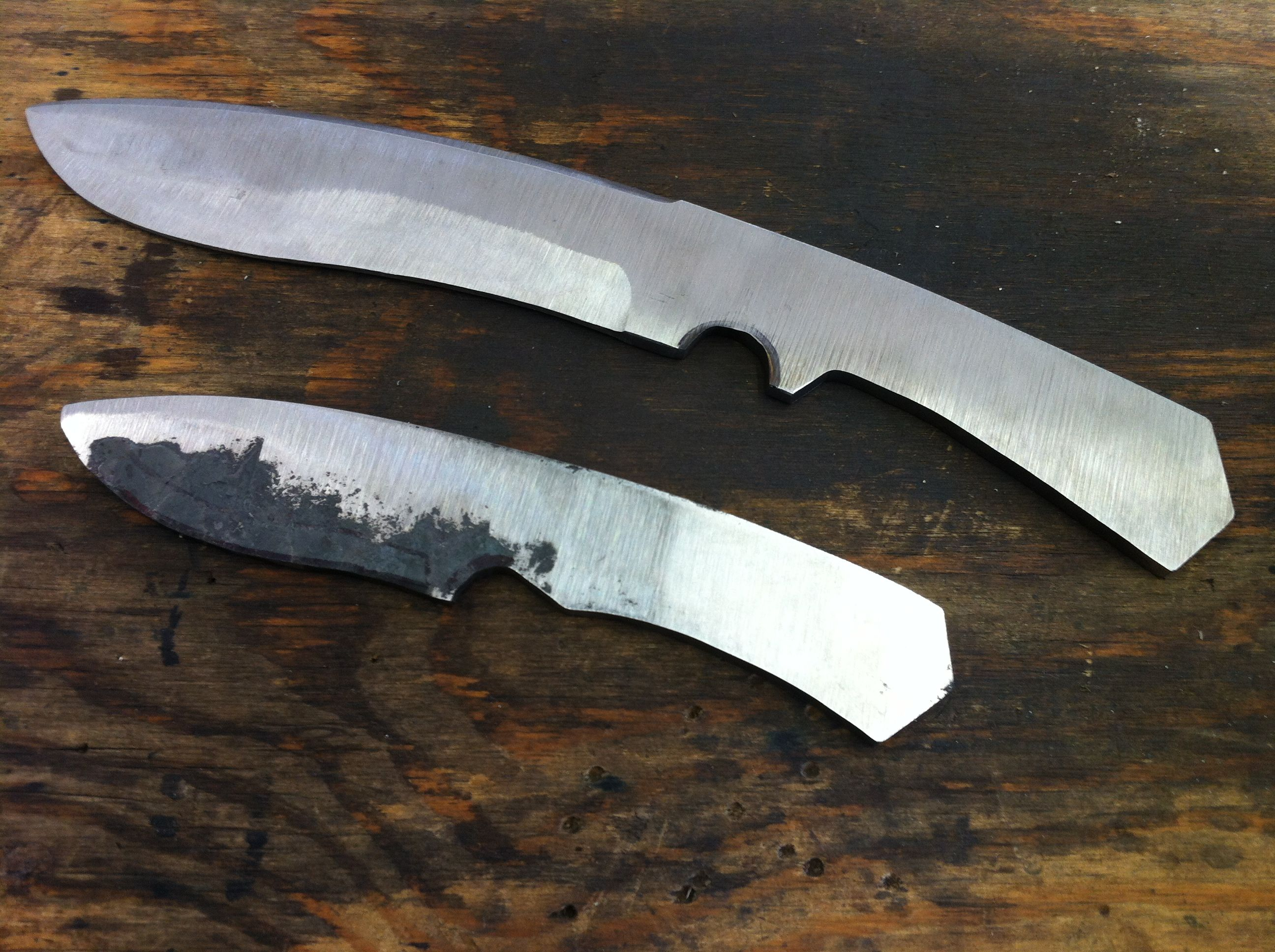 rough shaping of custom camp survival knife forgeworks