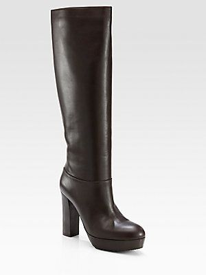 Marni Leather Platform Knee-High Boots clearance explore WjnTC