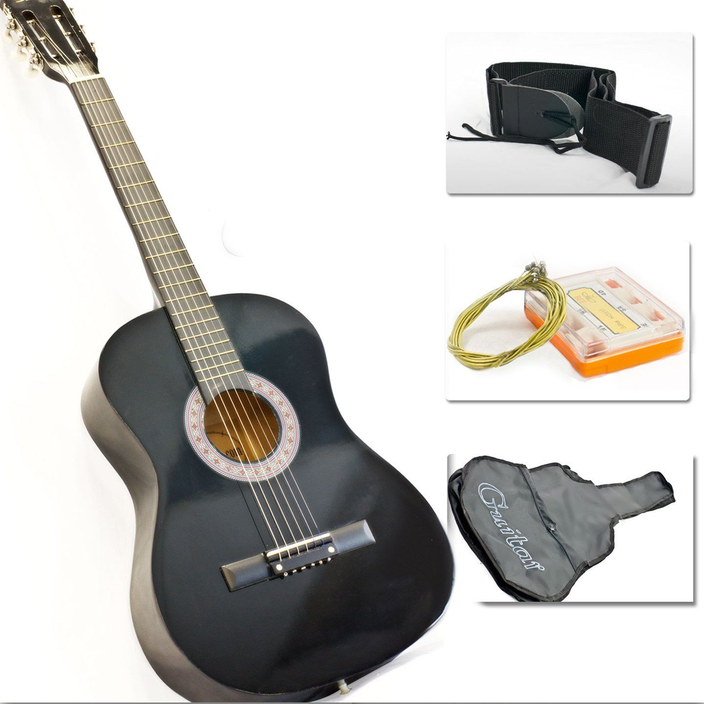 Black Acoustic Guitar With Accessories Combo Kit Beginners Price 34 95 Guitar Accessories Black Acoustic Guitar Acoustic Guitar Accessories