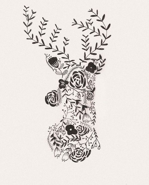 Free Flower Deer Printable & iPhone Wallpaper