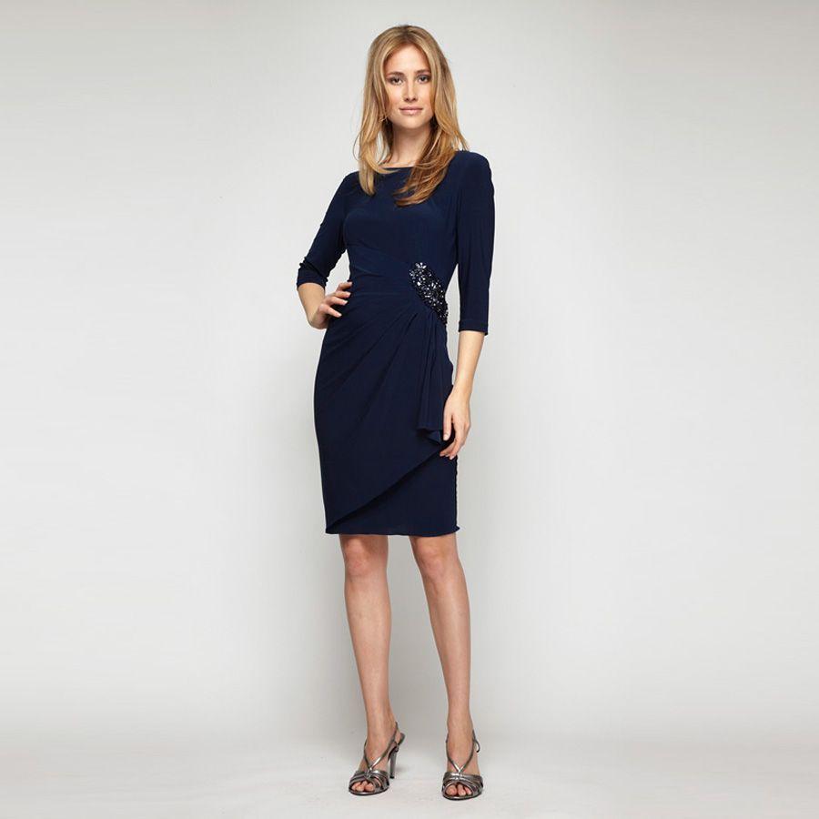 Alex Evenings Gathered Jeweled Waist Dress Jersey Dress Dresses Clothes [ 900 x 900 Pixel ]