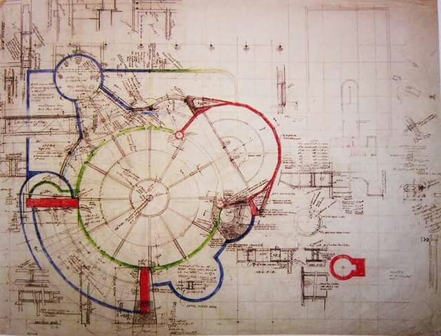 Drawing structure of Guggenheim museum, Frank Lloyd Wright, 1955_59, New york