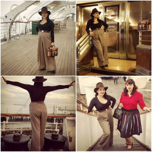 The gorgeous @indianajackie wearing our 1940s Swing Trousers! These beauties come in so many fabulous colours and  keep you warm in the winter and cool in the spring! A must have in every vintage gals wardrobe. #vivienofholloway #voh #vintage #vintagestyle #vintagegirl #madeinlondon #pinupgirl #1950s #1940s #1940strousers #swingtrousers