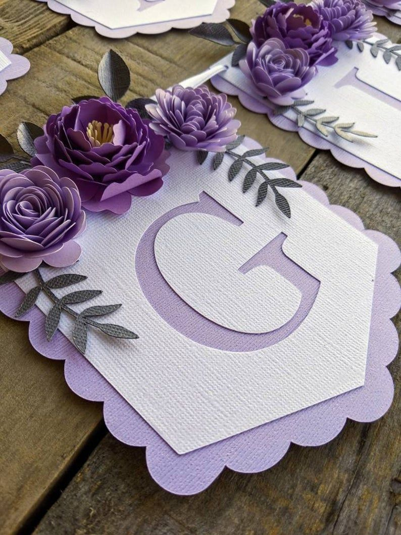 Personalized banner with purple paper flowers Paper flower