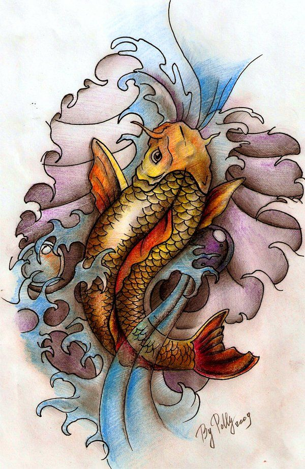 A Japanese Arm Tattoo Design With Some Flowers Waves And A Whirlwind Placed On The Shoulder Koi Art Koi Arm Tattoo