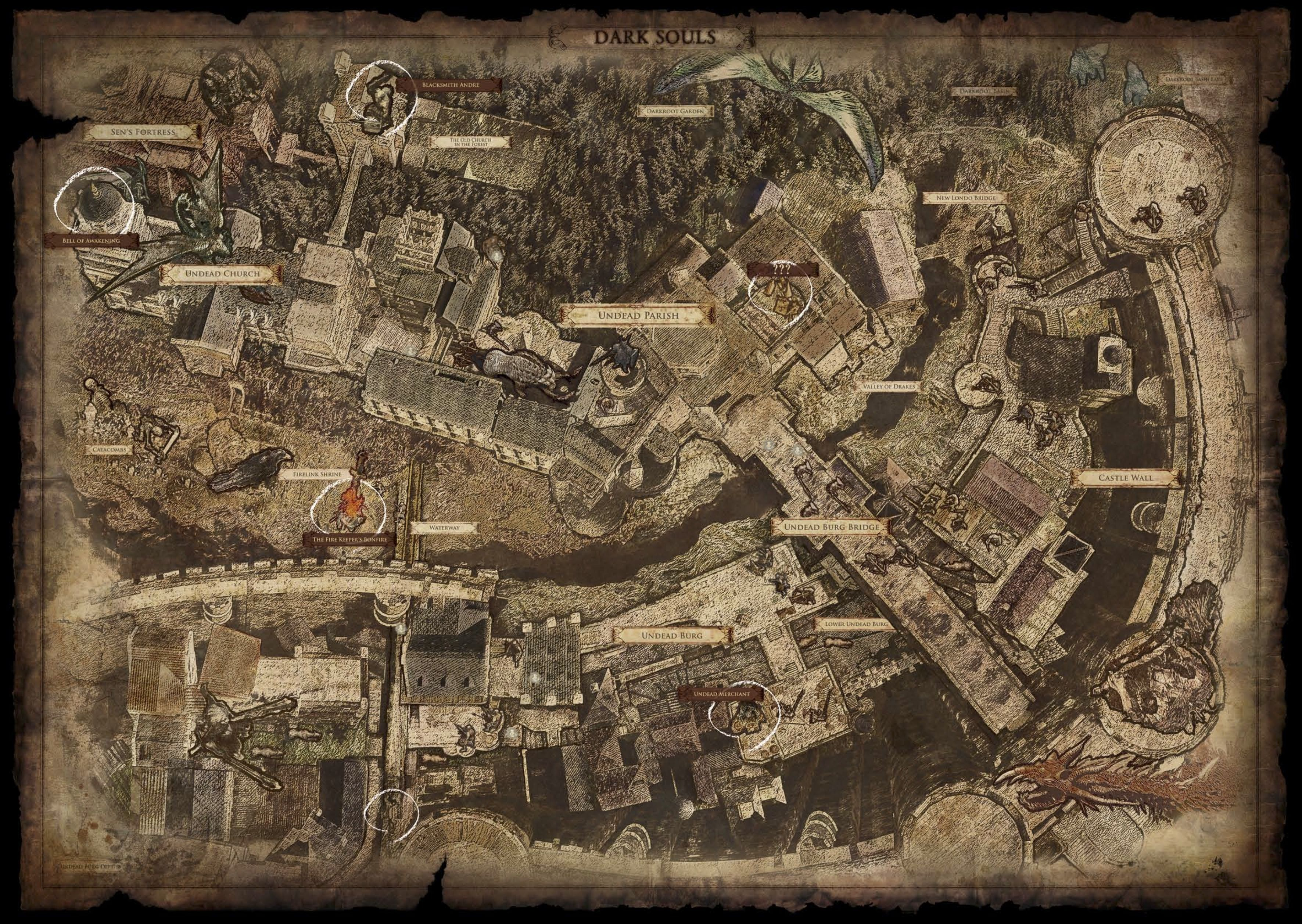 Dark Souls 1 map of Lordran, available as a PDF in the