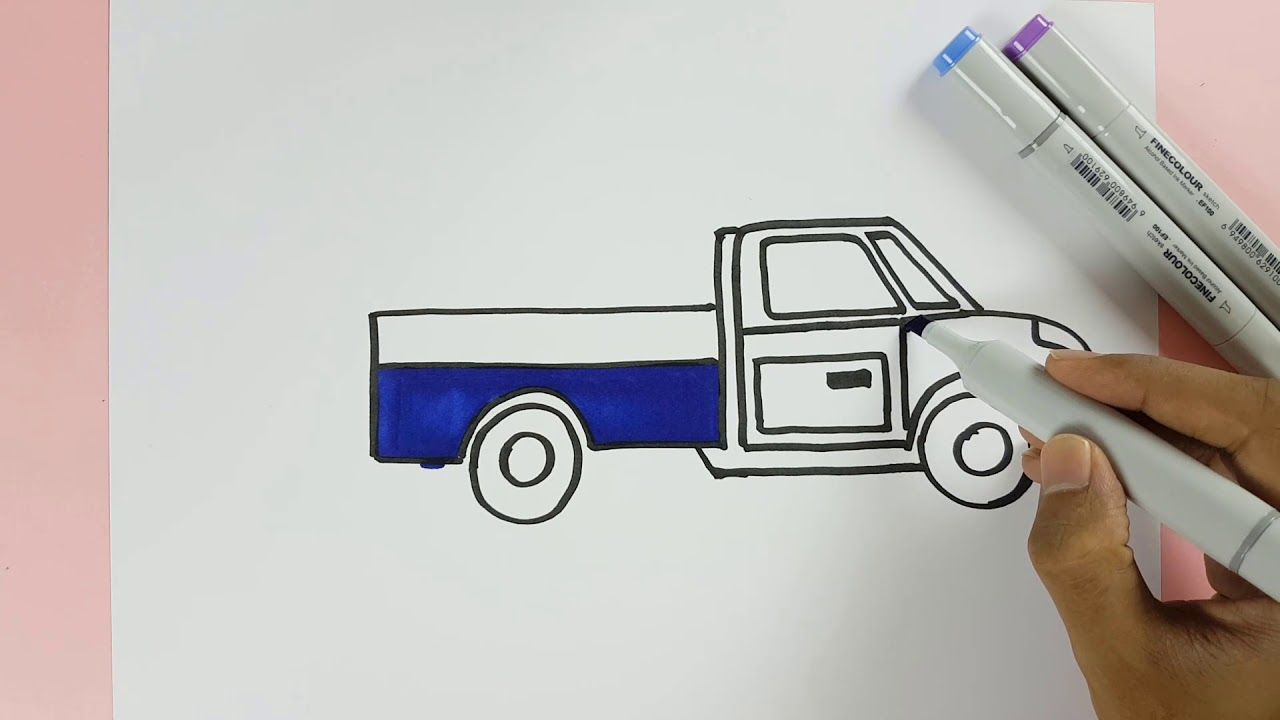 How To Draw A Small Truck Easily Step By Step And Color For Kids