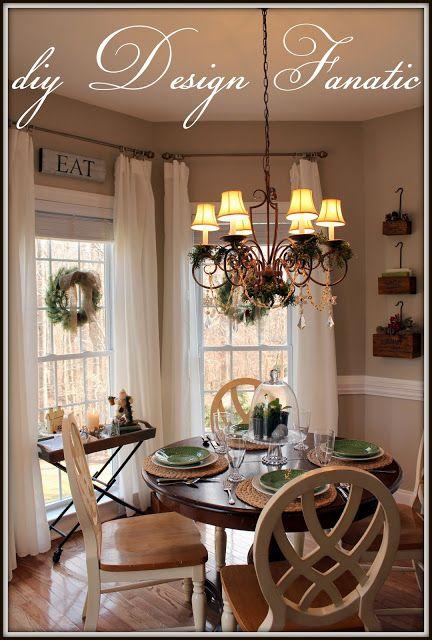 Christmas Decorated Dining/Breakfast Room | Holidays ... on Farmhouse:-Cra1Rtrksu= Dining Room Curtains  id=34247