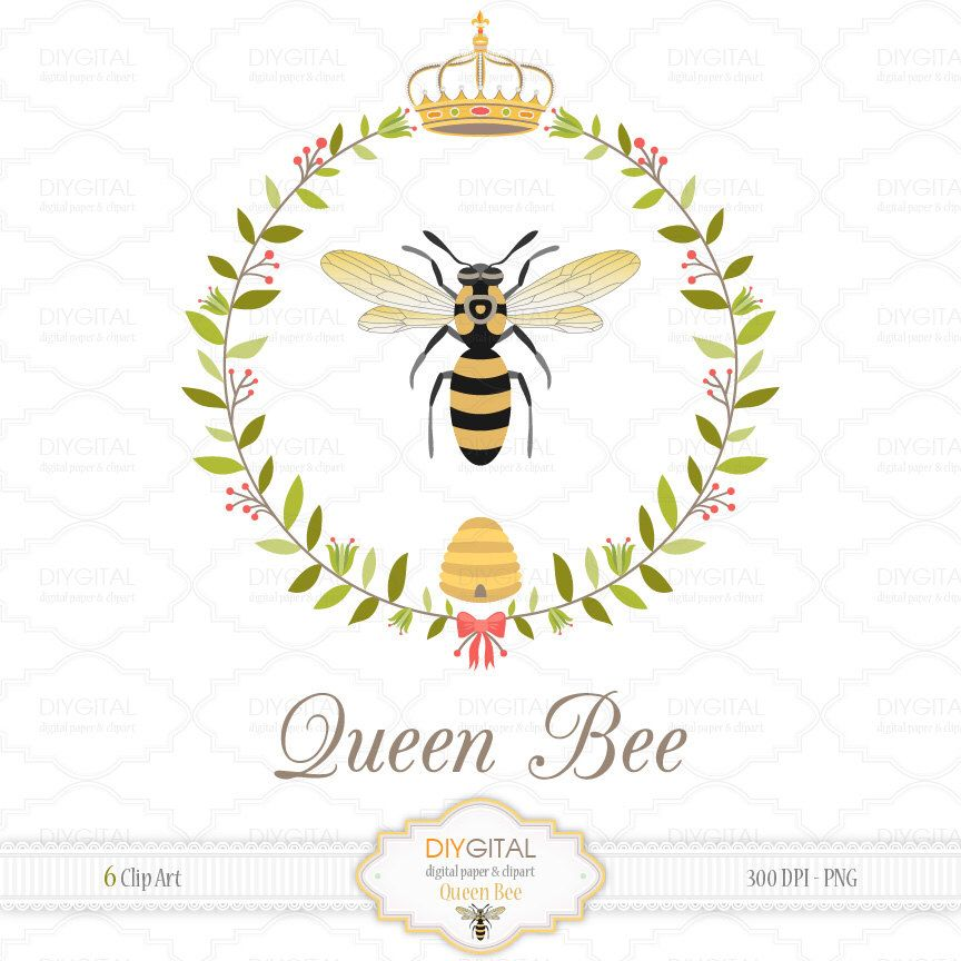 Queen Bee Clip Art Set 6 Printable Cliparts For Etsy Queen Bees Art Bee Art Bee Images