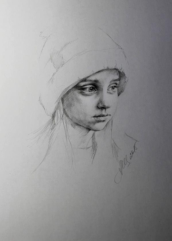 Charcoal portrait by Alla Dzyurich - Art People Gallery
