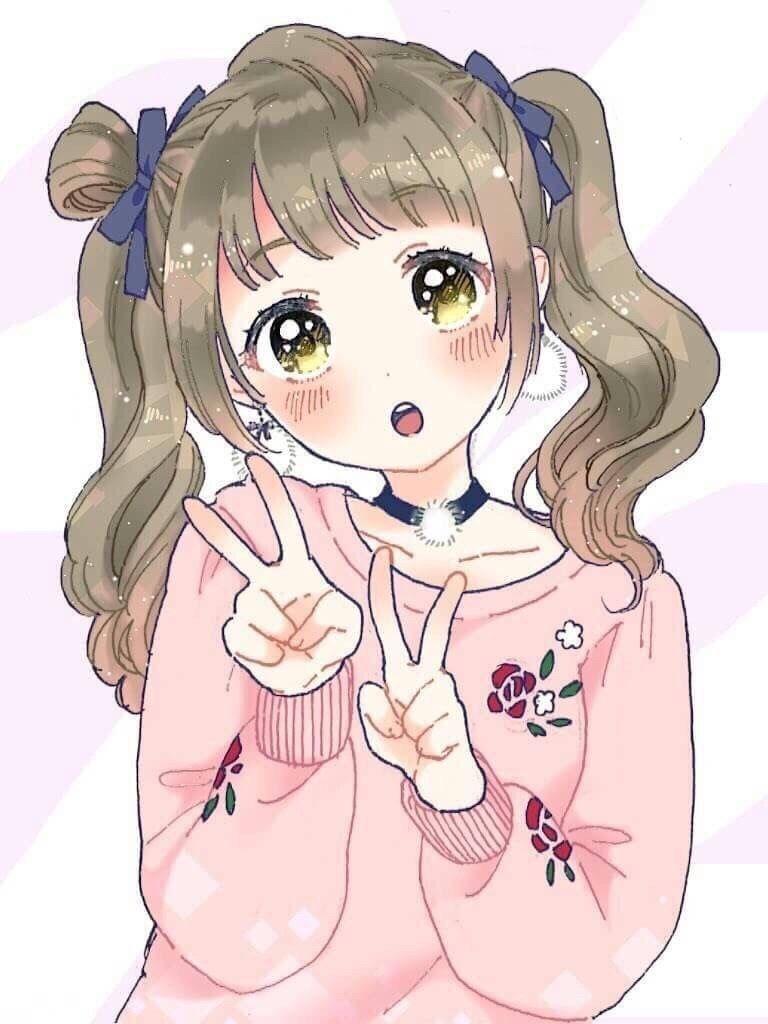 Double Peace Sign Dibujos Kawaii Colorear Anime Chica